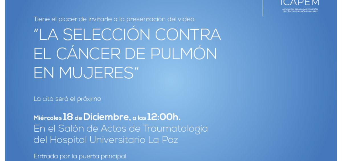 CONVOCATORIA- El grupo ICAPEM organiza un acto de concienciación de cáncer de pulmón en mujeres 18